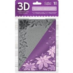 "Crafter's Companion 3D Embossing Folder - 3D Embossing Folder 5""x7"" - Pretty Poinsettia"